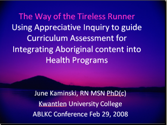 Appreciative Inquiry and First Nations Health Professionals
